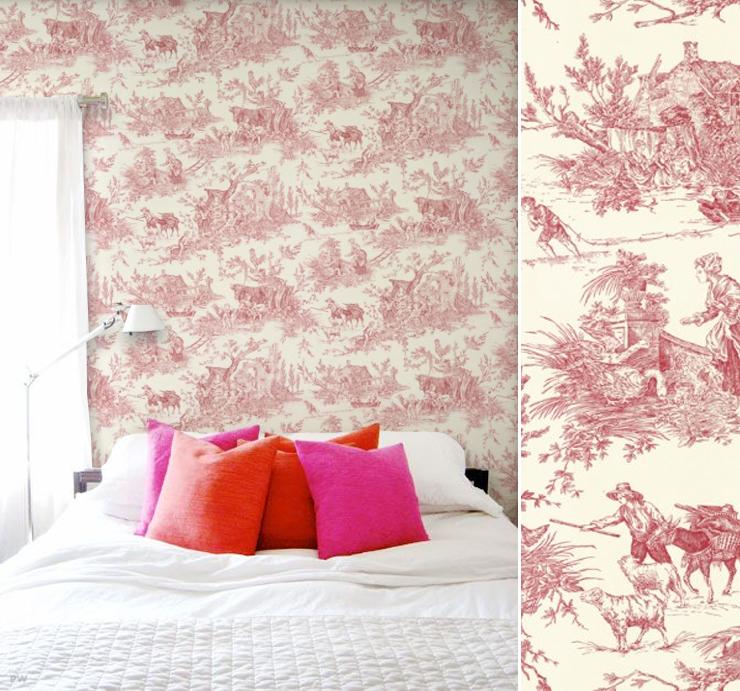 Papier peint haut de gamme art d co blogd co com - Papier peint toile de jouy rouge ...
